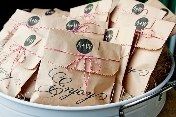 Butcher paper covered favors with hemp twine?  Mmmm, yes.
