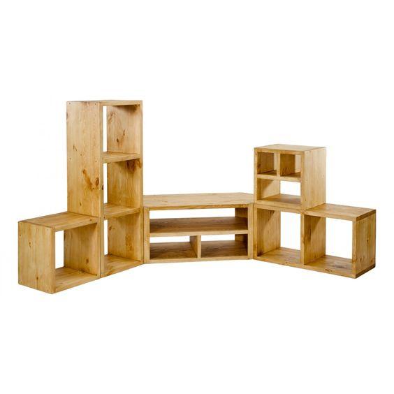 meuble tv d'angle pin massif 3 niches | grenier alpin | salon ... - Meubles Tv D Angle Design