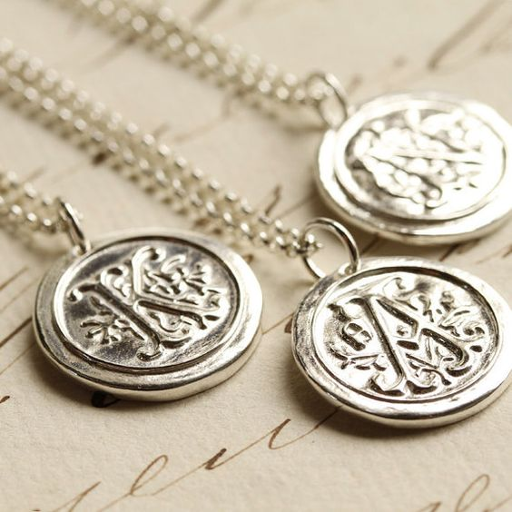 Wax Seal Initial Necklace  Any Letter of the Alphabet  by Englady, $40.00