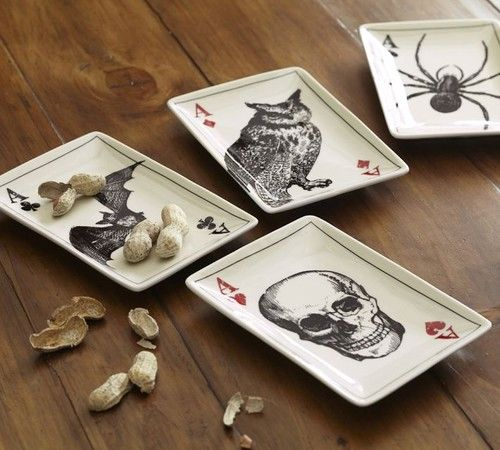 Ace of Skulls Appetizer Plates - eclectic - holiday decorations - Pottery Barn