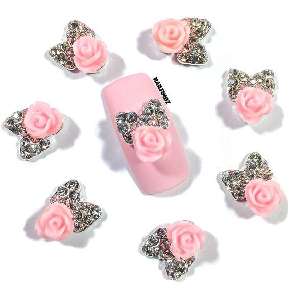 """Pink Passion"" Nail Charm (4 pcs)"