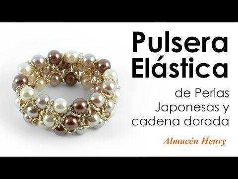Tutorial - Pulsera Elastica de Perlas y Cadena - YouTube