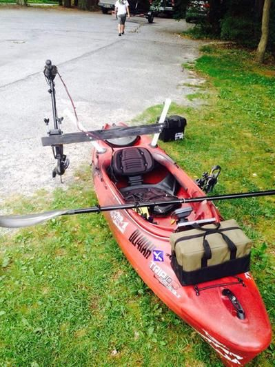 Old town trip 10 deluxe angler kayak easy install trolling for Fishing kayak with trolling motor