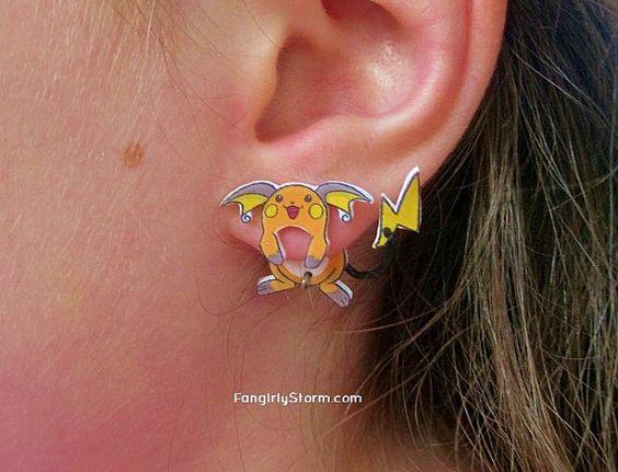 Raichu Pokemon Clinging earrings Handmade kawaii gamer two part front and back post earrings, $7.50: