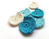 Crocheted sea shells applique - blue Beach wedding decorations, favors, sea shells embellishments, scrapbooking /set of 6/