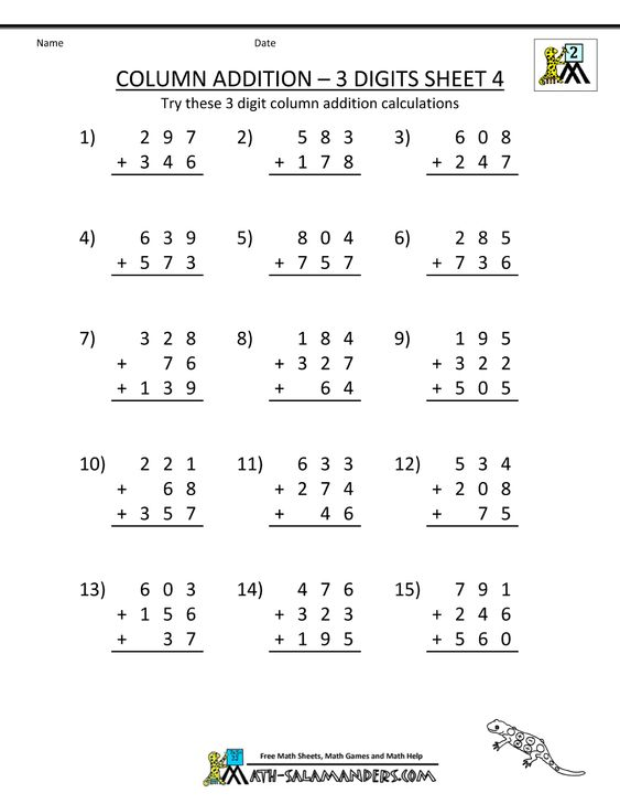 free printable addition worksheets column addition 3 digits – Column Addition Worksheets Year 3
