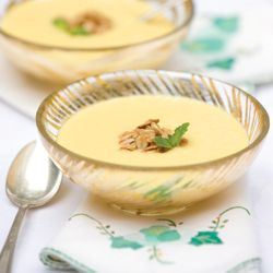 A chilled soup made from fresh mango, yogurt, honey, and milk lends itself well to any teatime menu.