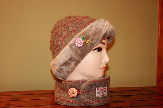 Harris Tweed Hat and Matching Neck Warmer by Ten10Creations, £55.00