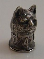 STERLING SILVER CAT HEAD VESTA CASE MATCH SAFE
