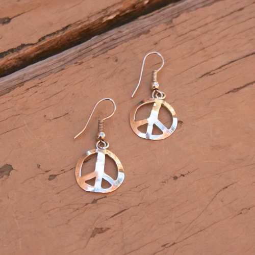 Fair Trade Alpaca Silver Peace Sign Earrings - Mexico - Delicate handcast alpaca silver earrings from Mexico, featuring a peace sign design.
