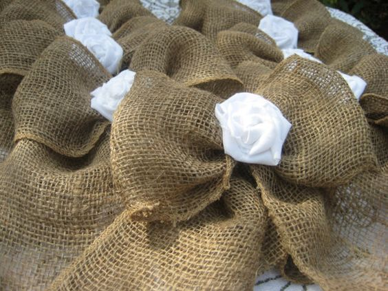 Burlap Bow Rustic Wedding Fabric Rose Set of by YourDivineAffair, $59.50