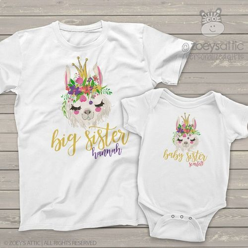 Big Little Sister Wreath T-Shirts Bodysuits Printed Baby Toddler Matching Girls