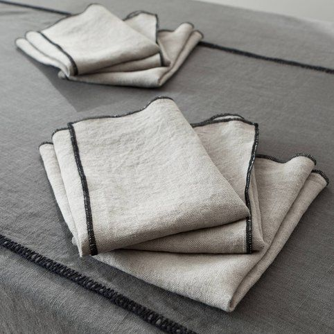 Lot de 6 serviettes de table lin lavé stone wash Letia Harmony - 3Suisses