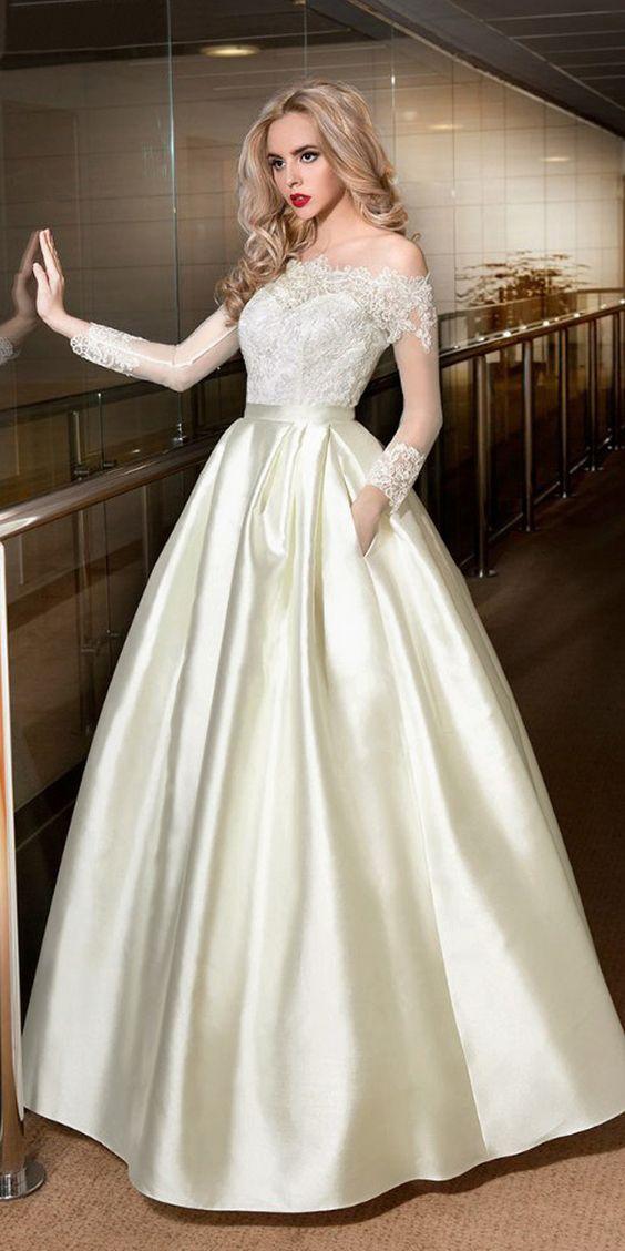 Marvelous Satin Off-the-shoulder Neckline A-line Wedding Dresses