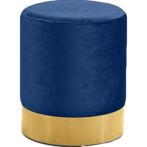 Outstanding Blue Round Velvet Ottoman Footstool Gold Base In 2019 Bralicious Painted Fabric Chair Ideas Braliciousco