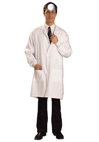 Most doctors in the 50's had the appearance of the picture above, so there's a large chance that Dr.Emmett would wear a lab coat as part of his uniforms
