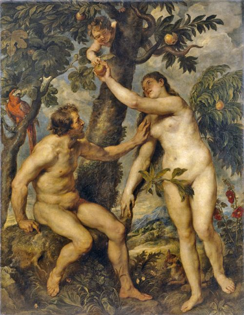 To this day no one can explain to me why renditions of Adam and Eve have belly buttons...a thought that lingers from my Renaissance Lit class...: