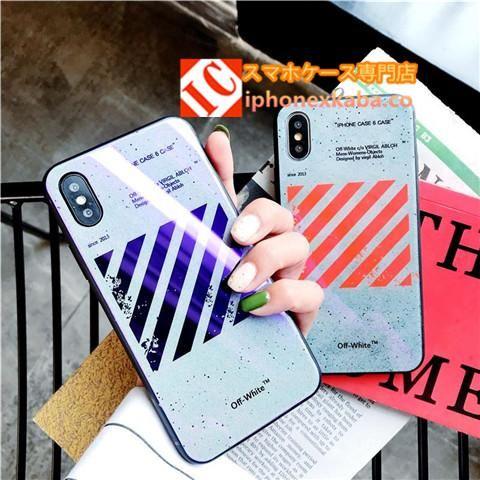 硬化ガラス表面オフホワイトoff Whiteブランドiphonex 8ケース硝子メッキ加工アイフォン8plus 7 6splus携帯カバーかっこいいバレンシアガbalenciagaスマホケースおしゃれストリート Iphoneケース かわいい 携帯電話ケース 7plus ケース