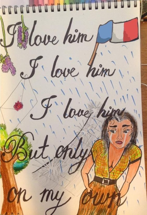 """""""On My Own"""". Marker Pens. By Lui Moreno, age 23. From Columbia. #theatre #lesmis #musicals www.lesmis.com"""