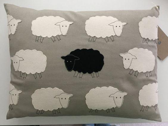 Baa Baa Black Sheep cushion 16x12 by Friendsofnumber43 on Etsy