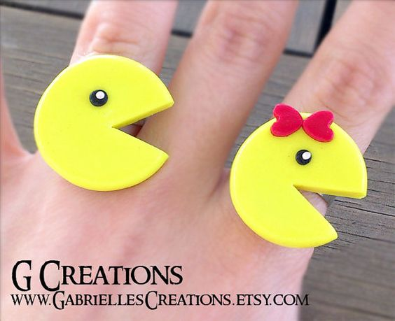 Pac Man and Miss Pacman Ring  Pacman by GabriellesCreations, $12.00