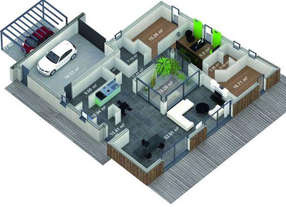 Plan de maison en u avec patio plan maison pinterest for Plan maison patio