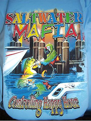 Saltwater Mafia Blue T Shirt LS Marlin Fishing Boating Happy Hour Quick Dry XXXL #Vaper #CrewNeck