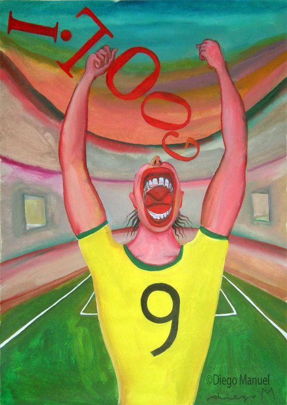 Gol gool 4. Pintura sobre el futbol argentino a la venta del artista plastico Diego Manuel Rodriguez
