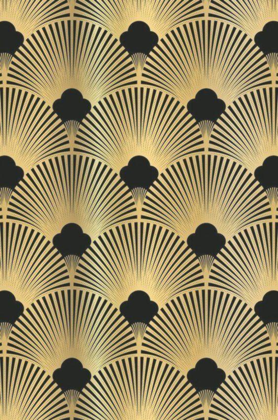 Golden 20ies Art Deco Muster Fur Tapeten Und Nischenruckwand Exklusiv Bei Kuc Art Deco Wallpaper Art Deco Pattern Art Deco Interior
