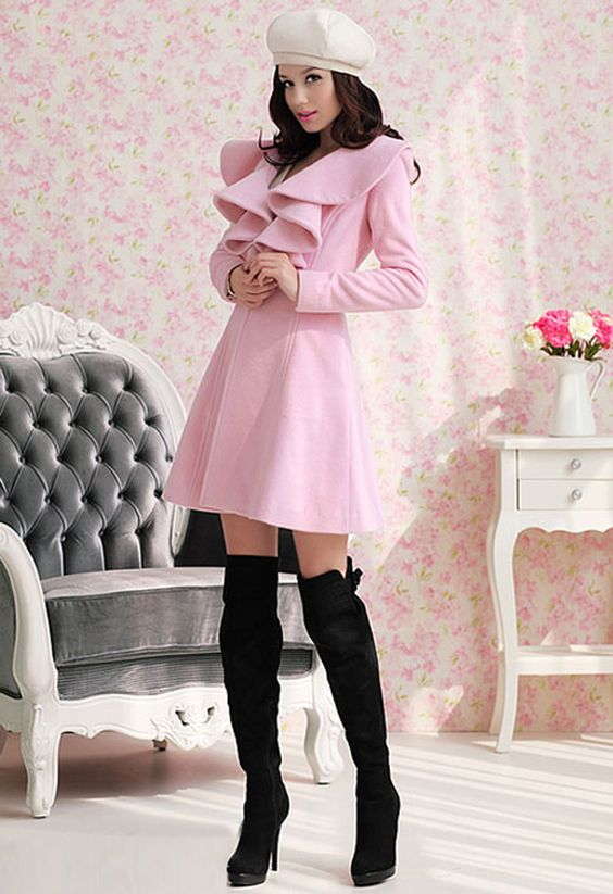 $40 Ruffled Pink Pea Coat | My Style | Pinterest | Boots Lotus