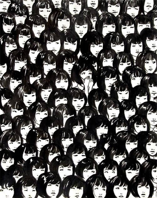 Ninety One Good Chinese Girls by Jennifer Hom  Inspired by a photo the artist saw of a swarm of singing, uniform, asian girls.: