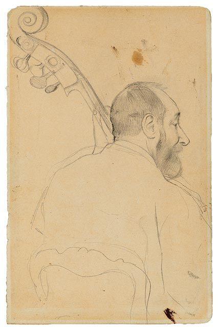 Edgar Degas (1834–1917)  Achille Henri Victor Gouffé (1804–1874), Double Bass Player at the Paris Opéra, 1869  Graphite