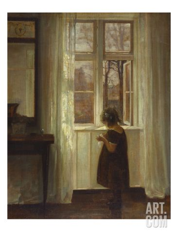 A Girl Standing at a Window Giclee Print by Carl Holsoe at Art.com