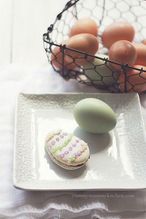 Easter Egg French Macarons filled with Nutella.