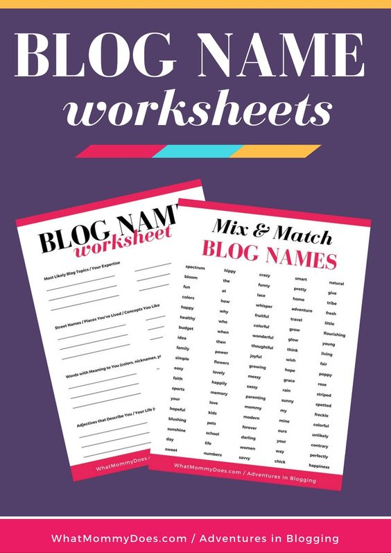 These free worksheets from WhatMommyDoes are perfect if you need help deciding on a blog name! These cheatsheets help you pick the PERFECT BLOG NAME which is important if you want to have a blog that's a reflection of YOU but that other people will be interested in reading. It's a fine line to walk! | create a blog ready to make extra money, blogging tips, how to start a blog, blogging for beginners, blog name cheatsheets