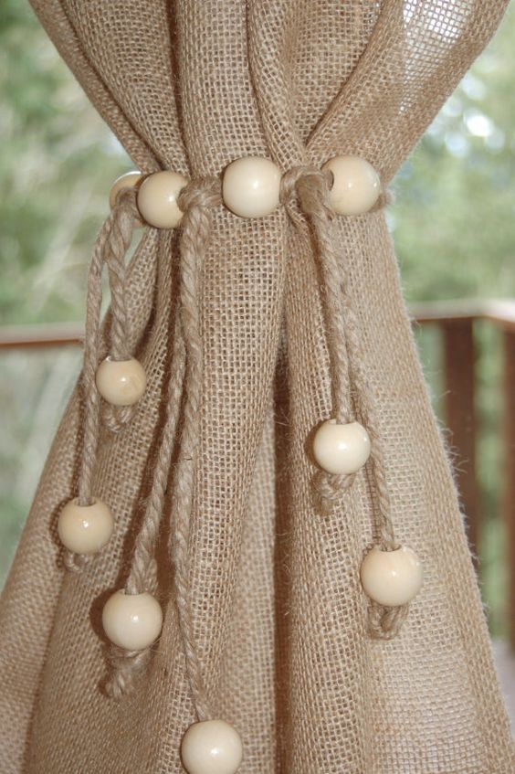 Curtain tie back jute rope with jumbo wooden beads ~ small, medium ...