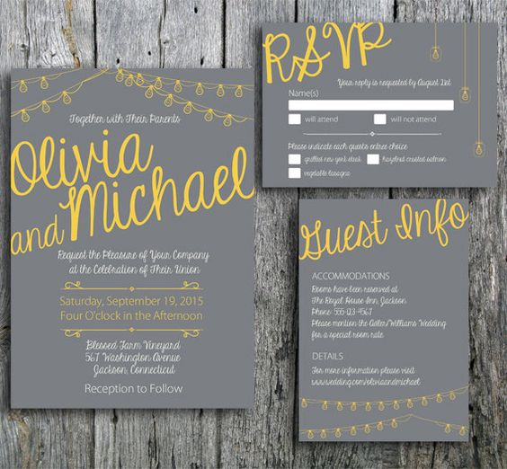 """Grey and Yellow wedding invitation printable. The """"Love in Lights"""" collection now includes grey and yellow. The design includes calligraphy style font decorated with string lights. Great for a rustic wedding or modern wedding. LangDesignShop via Etsy"""