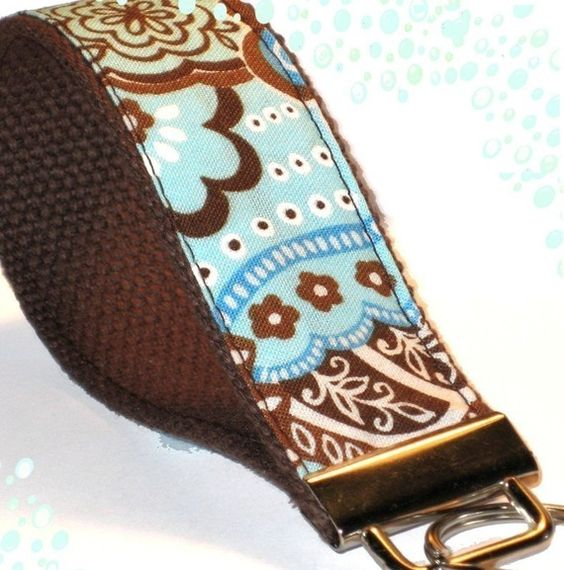 Wrist Key Chain  Key Fob Wristlet Keychain  Sweet Blue by OhKoey, $6.25