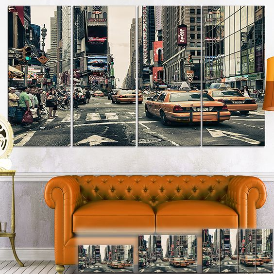 New York Streets and Taxis - Cityscape Photo Art Print