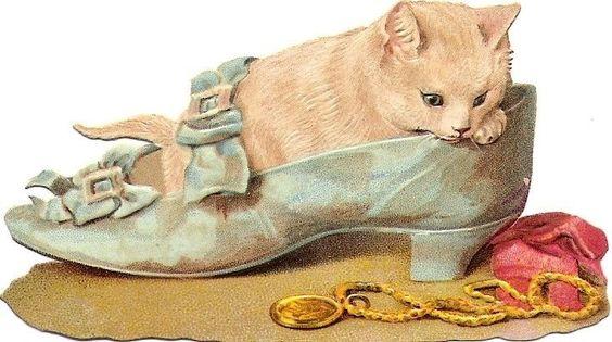 Oblaten Glanzbild scrap die cut chromo Katze cat Schuh shoe  Helena Maguire: