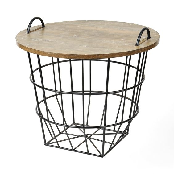 Wood basket Industrial and Wire on Pinterest
