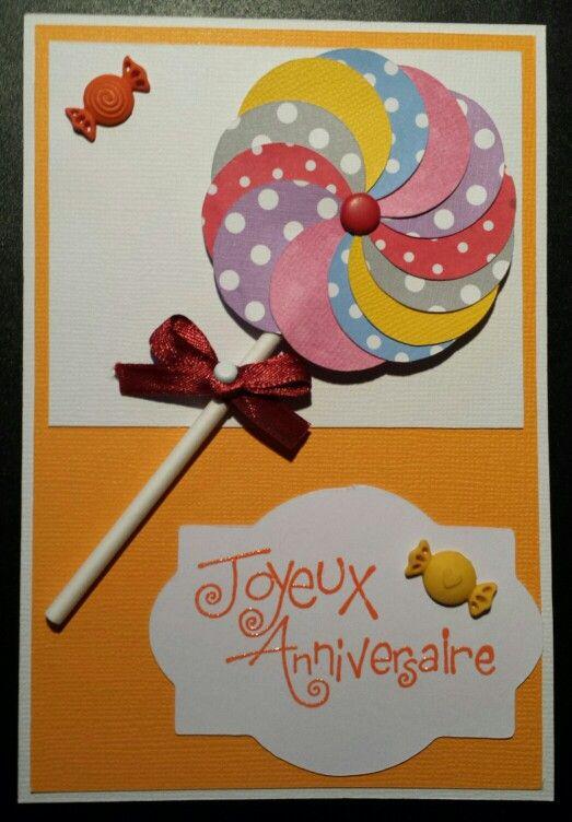 Carte joyeux anniversaire scrap sucette et bonbons  -  happy birthday card sweets
