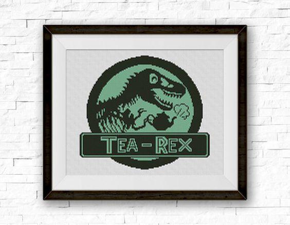 Tea Rex Cross Stitch Pattern Dinosaur