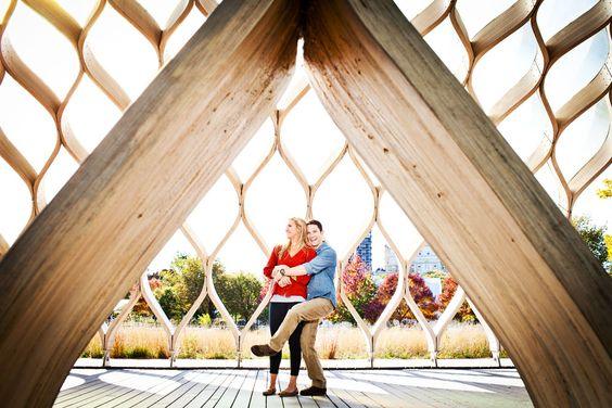 Lincoln Park engagement shot in the honeycomb sculpture.  like the idea for a background