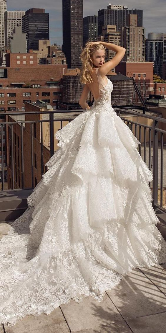 wedding dresses fall 2019 ball gown ruffled skirt low back lace pnina tornai
