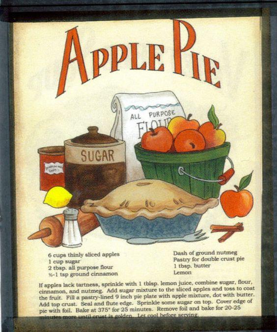Apple Pie Recipe Plaque Retro Primitive Country Kitchen Decor Sign Recipes