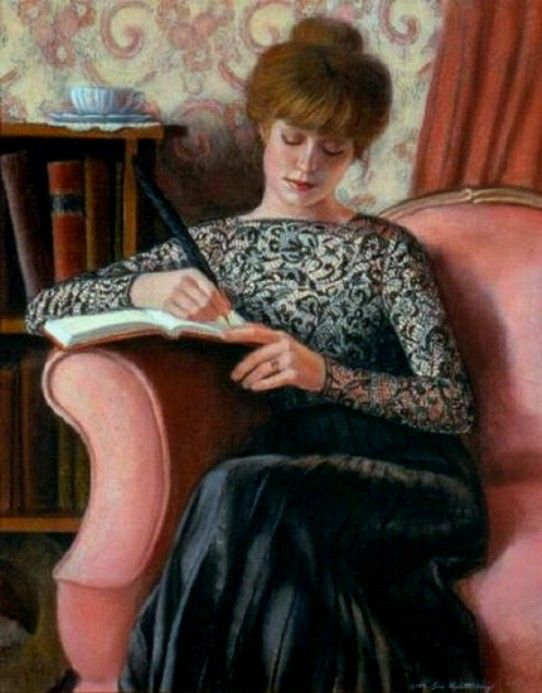 Halstenberg, Sue (b,1957)- Woman Writing in Chair: