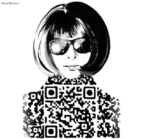 This deserves a shirt: Anna Wintour QR code.  http://www.yiyinglu.com/?portfolio=meets-obsession-fashion-illustration