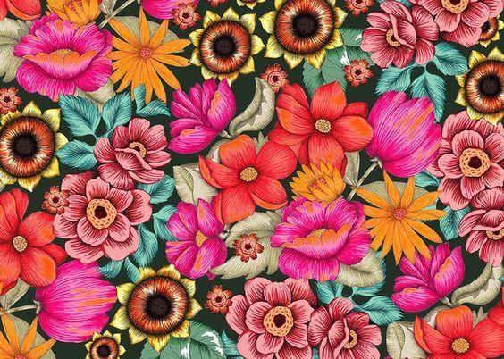 Pintura sobre tecido de chita por Aline Miguel