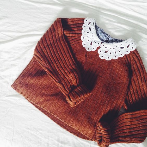 frilled collar and autumn colour jumper